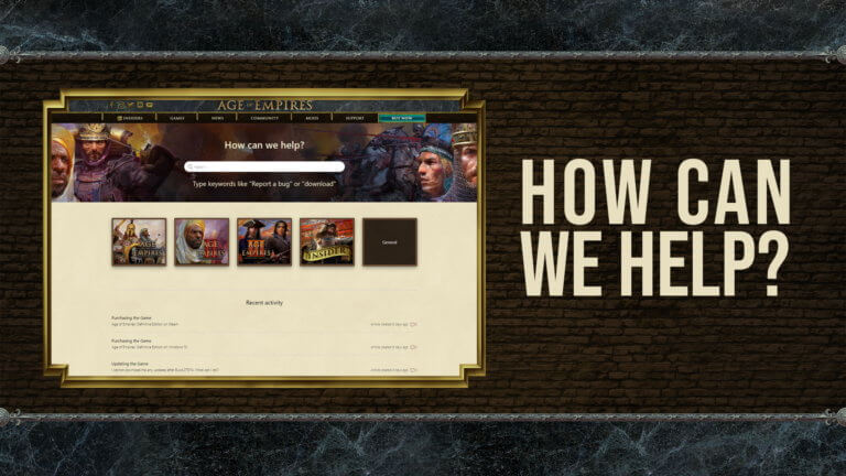 'Welcome to the new Age of Empires Support Site!' thumbnail