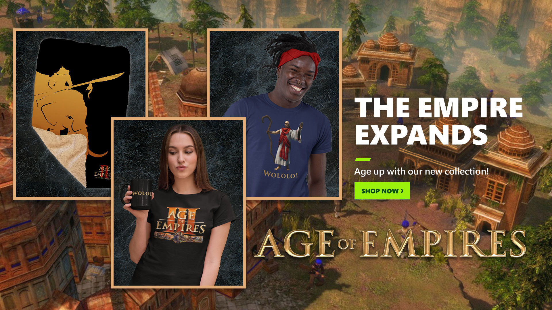 Promotional image showing items available in the Age of Empires Gear Store