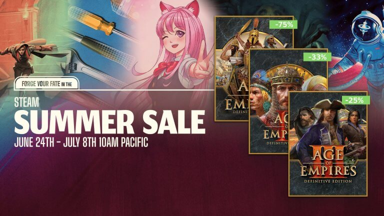 'Big savings on all three Definitive Editions during the Steam Summer Sale!' thumbnail