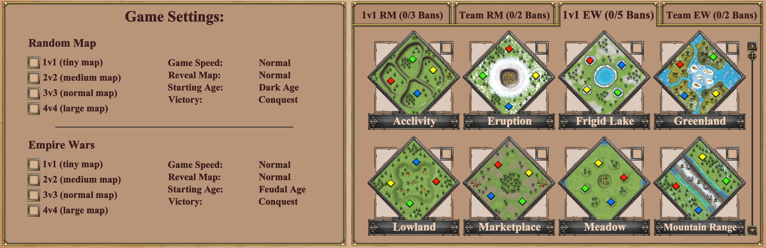 Age of Empires 2 Game Settings menu